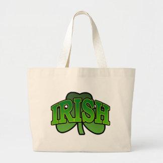 Bolso sombreado trébol irlandés bolsa tela grande