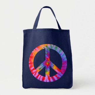Bolso teñido lazo del signo de la paz bolsa tela para la compra