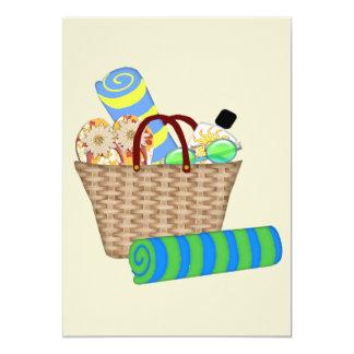 """Bolso, toallas y flips-flopes de la playa invitación 5"""" x 7"""""""