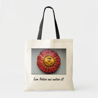 Bolso - tote del presupuesto con la flor sonriente bolsa tela barata