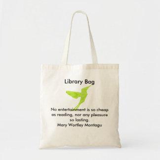 Bolso verde de la biblioteca del pájaro