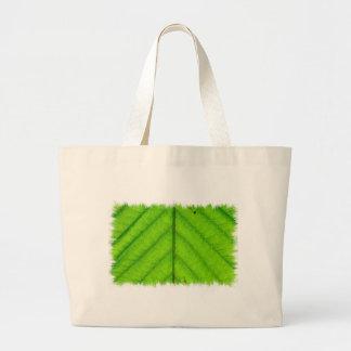 Bolso verde de la lona de la hoja bolsa
