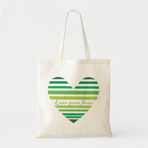 Bolso verde del bosque del amor bolsa tela barata
