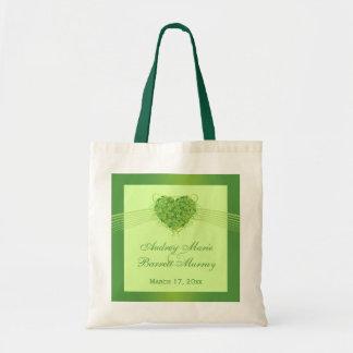Bolso verde del favor del boda del corazón de los  bolsa tela barata