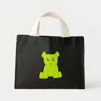 Bolso verde del oso bolsa de tela pequeña