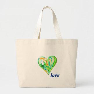 Bolso verde del pastel del aceite del corazón de l bolsa lienzo