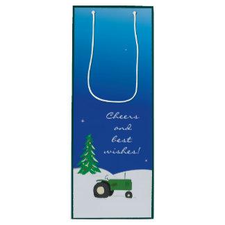 Bolso verde del regalo del tractor y del vino del bolsa de regalo para vino