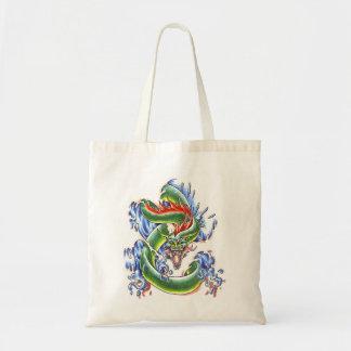 Bolso verde fresco del tatuaje del dragón de agua bolsa tela barata