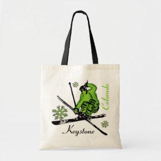 Bolso verde trapezoidal del esquiador del tema de  bolsa de mano