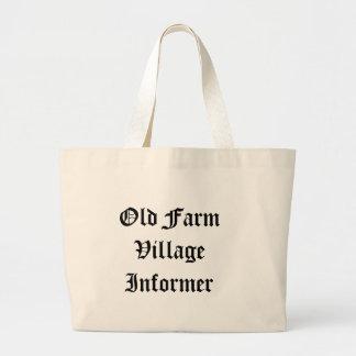 Bolso viejo del informador del pueblo de la granja bolsa tela grande