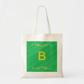 Bolsos amarillos del monograma del verde de la