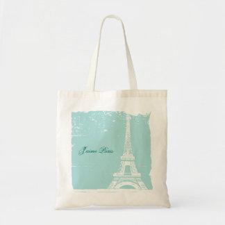 Bolsos azules de la lona de la torre Eiffel Bolsas Lienzo