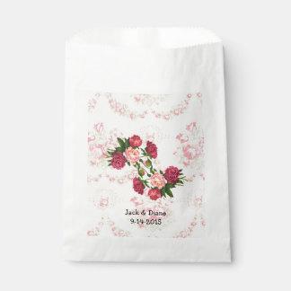 Bolsos de encargo del favor de los rosas rosados bolsa de papel