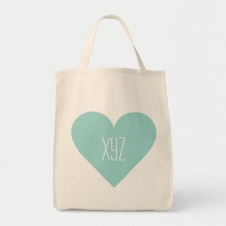 Bolsos de encargo del monograma del corazón de la bolsa tela para la compra