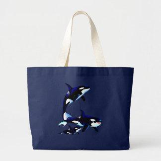 Bolsos de la familia de la orca bolsa tela grande