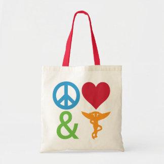 Bolsos de la paz, del amor y de la quiropráctica bolsas de mano