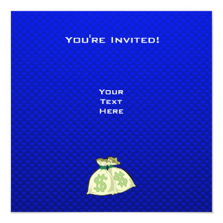 """Bolsos del dinero; Azul Invitación 5.25"""" X 5.25"""""""