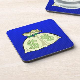 Bolsos del dinero; Azul Posavasos De Bebidas