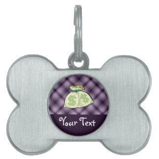 Bolsos del dinero; Púrpura Placa De Nombre De Mascota