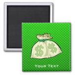 Bolsos del dinero; Verde Imanes Para Frigoríficos
