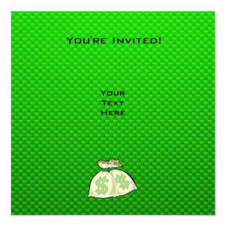 """Bolsos del dinero; Verde Invitación 5.25"""" X 5.25"""""""