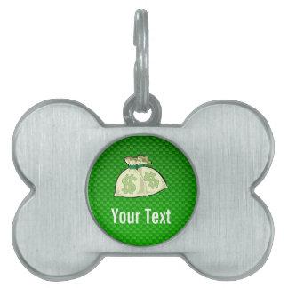 Bolsos del dinero; Verde Placas De Nombre De Mascota