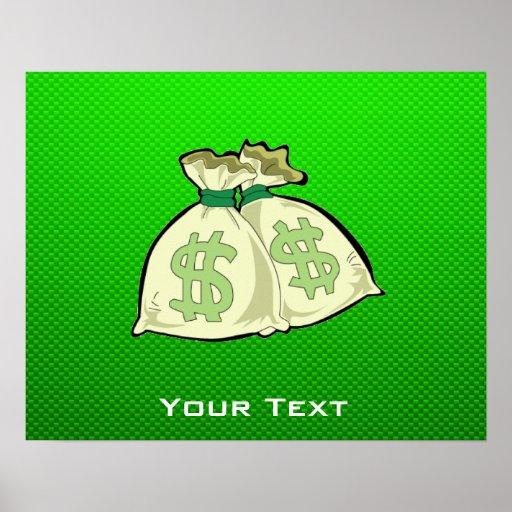 Bolsos del dinero; Verde Póster