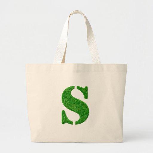 Bolsos del monograma de la plantilla de la hierba bolsa tela grande