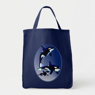 Bolsos del óvalo de la familia de la orca bolsa tela para la compra
