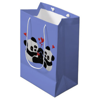 Bolsos del regalo del amor de la panda bolsa de regalo mediana