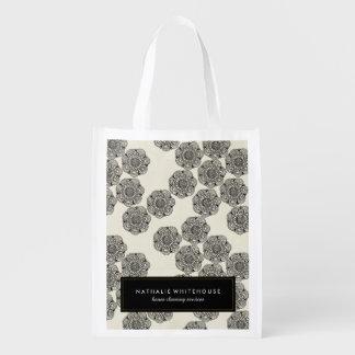 Bolsos florales blancos y negros bonitos bolsas para la compra