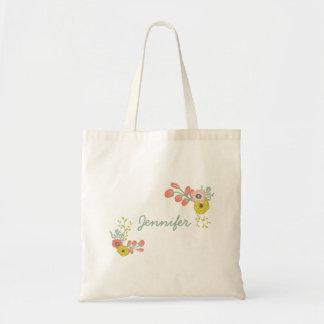 Bolsos florales botánicos rosados de encargo bolsa tela barata