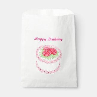 Bolsos florales rojos del favor de la torta del
