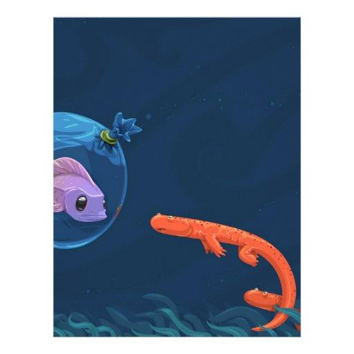 Bolsos frescos abstractos de los pescados membrete