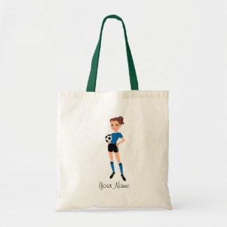 Bolsos ilustrados fútbol femenino bolsa tela barata