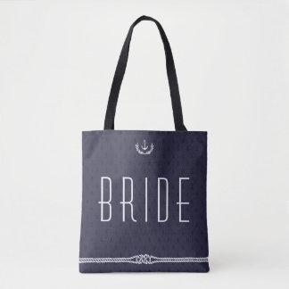 Bolsos náuticos del boda de la novia con las bolsa de tela