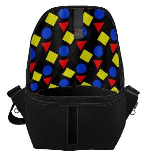 Bolsos negros de la escuela con formas geométricas bolsas de mensajería