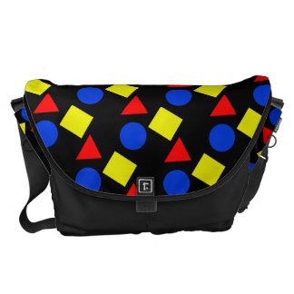 Bolsos negros de la escuela con formas geométricas bolsas de mensajeria