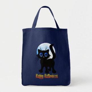 Bolsos negros del gatito del feliz Halloween Bolsa Tela Para La Compra