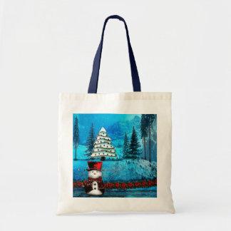 Bolsos populares del regalo del navidad del lago bolsa tela barata