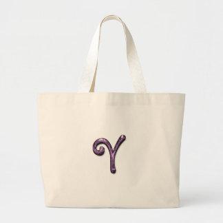 Bolsos púrpuras metálicos del monograma bolsa tela grande