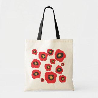 Bolsos rojos de las flores bolsa de mano