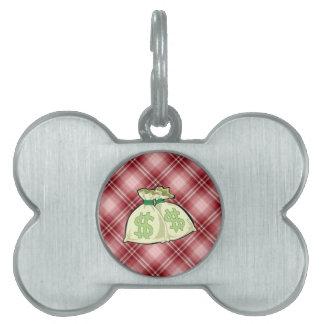 Bolsos rojos del dinero de la tela escocesa placa de nombre de mascota