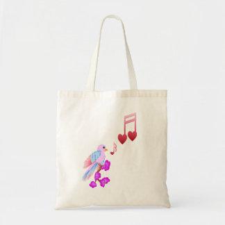 Bolsos rosados de las notas del pájaro y del amor bolsa