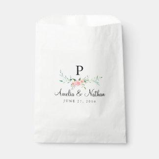 Bolsos rosados florales del favor de la acuarela bolsa de papel