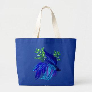 Bolsos siameses azules grandes de los pescados que bolsa tela grande