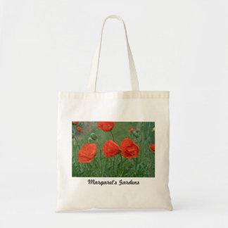 Bolsos/totes de la amapola de los jardines de bolsa tela barata