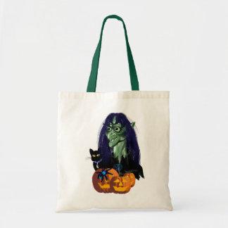 Bolsos verdes de la bruja bolsa tela barata