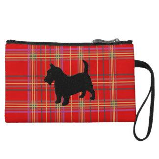 Bolsos y monederos de la tela escocesa, con el per