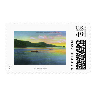 Bolton Landing View of Couples Canoeing Postage Stamp